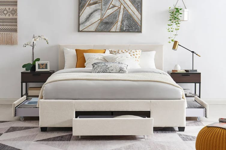 Shangri-La Bed Frame - Venice 3 Drawer Collection (Beige, Queen)