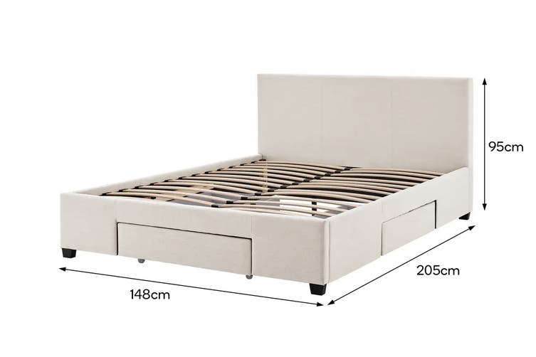 Shangri-La Bed Frame - Venice 3 Drawer Collection (Beige, Double)