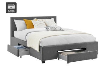 Shangri-La Bed Frame - Venice 3 Drawer Collection (Charcoal, Queen)