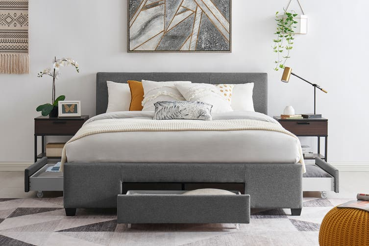 Shangri-La Bed Frame - Venice 3 Drawer Collection (Charcoal, Double)