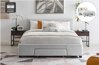 Shangri-La Bed Frame - Venice 3 Drawer Collection (Pewter Grey, Double)