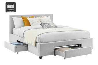Shangri-La Bed Frame - Venice 3 Drawer Collection (Pewter Grey, Queen)