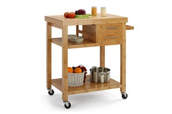 Shangri-La Bexley Premium Bamboo Kitchen Island Trolley (Natural)
