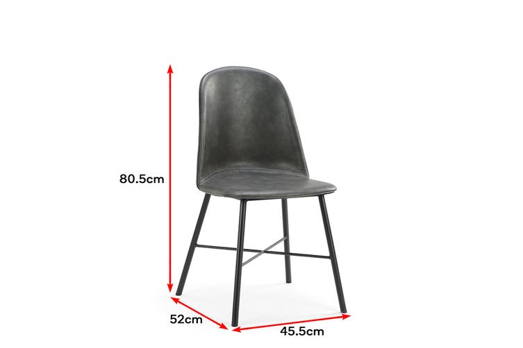 Shangri-La Set of 2 Emerson Premium PU Dining Chairs (Charcoal)