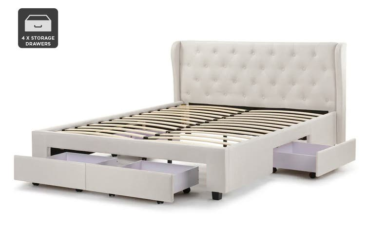 Shangri-La Marseille Storage Bed (King, Beige)