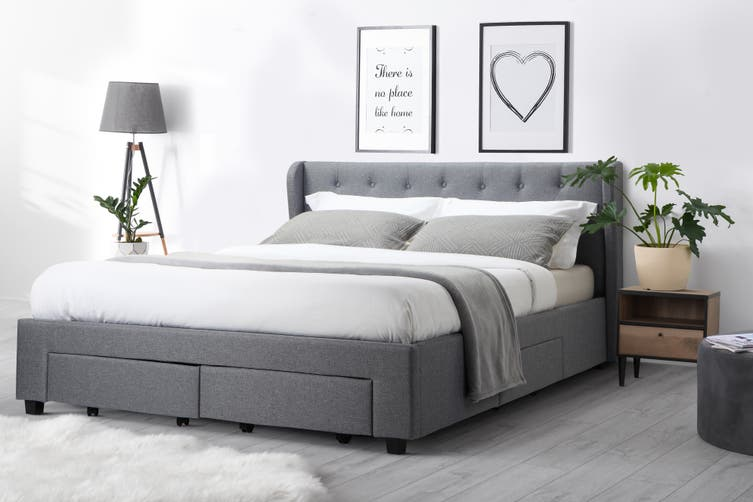 Shangri-La Marseille Storage Bed (Queen, Light Grey)