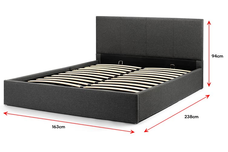 Shangri-La Stowe Gas Lift Bed Frame (Queen, Charcoal)