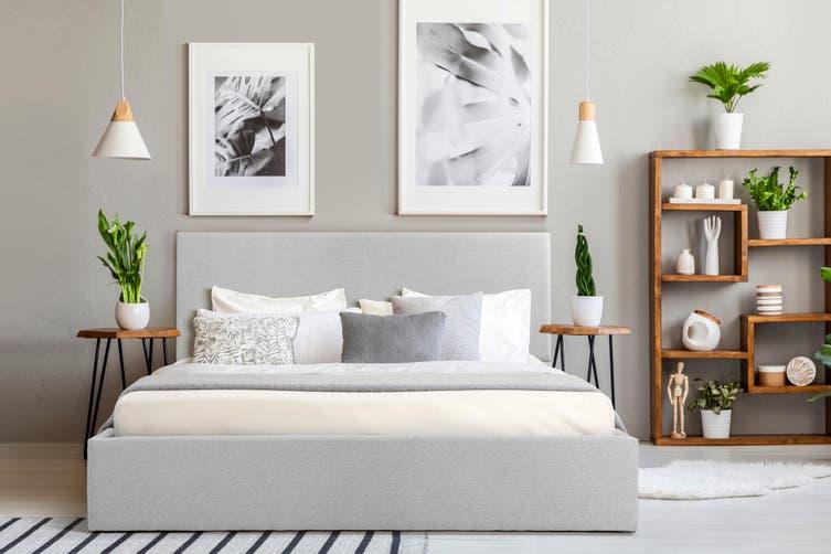 Shangri-La Stowe Gas Lift Bed Frame (Double, Light Grey)