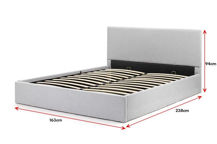 Shangri-La Stowe Gas Lift Bed Frame (Queen, Light Grey)
