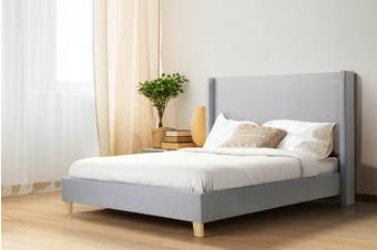 Shangri-La Phoebe Bed Frame (Light Grey, Queen)