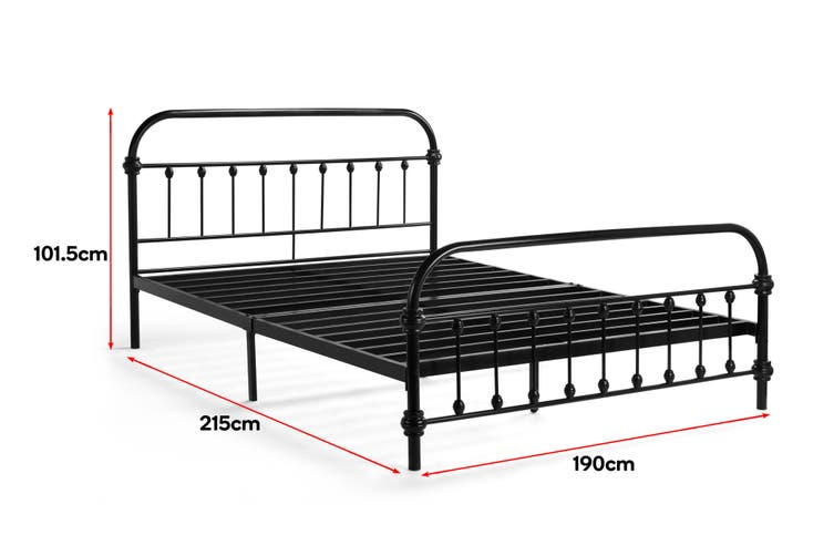 Shangri-La New York Metal Bed (Double, Black)