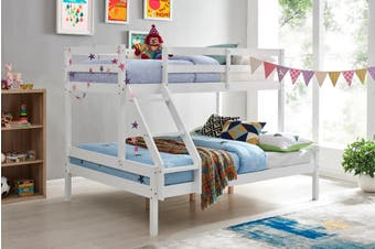 Shangri-La Pasadena Single Over Double Bunk Bed (White)