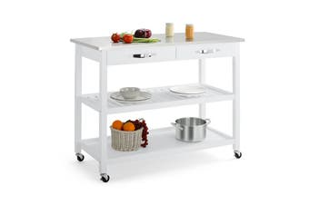Shangri-La Paddington Premium Stainless Steel Kitchen Island Trolley (White)