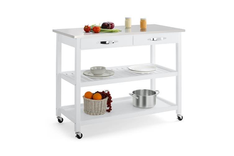 Shangri-La Paddington Premium Stainless Steel Kitchen Island Trolley (White)