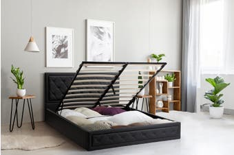 Shangri-La Winslow Gas Lift Bed Frame (Double, Black)