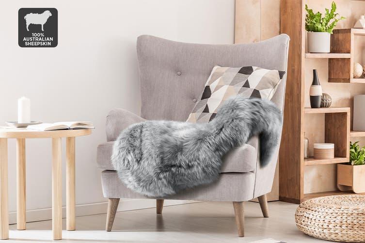 Shangri-La 100% Australian Sheepskin Rug (Grey) (90x50cm)