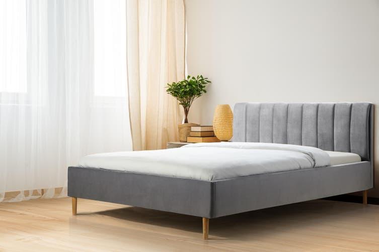 Shangri-La Talia Velvet Bed Frame (Charcoal, Queen)