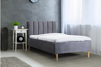 Shangri-La Talia Velvet Bed Frame (Charcoal, Single)