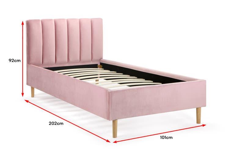 Shangri La Talia Velvet Bed Frame Pink, Pink Upholstered Bed Frame Australia