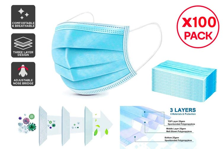 100 x 3 Ply Protective Disposable Face Masks