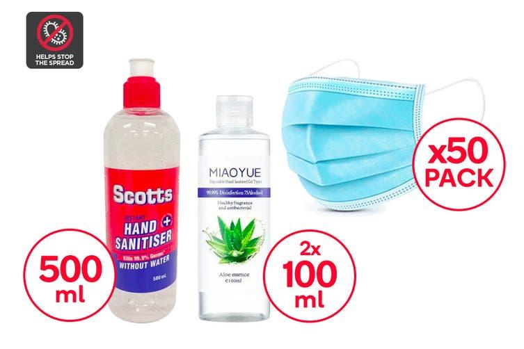 Mask & Hand Sanitiser Family Safety Pack (Small)