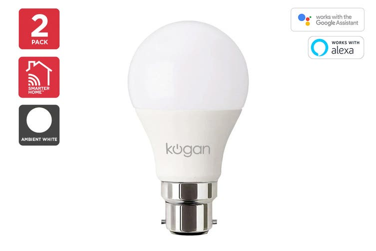 Kogan SmarterHome™ 10W Cool & Warm White Smart Bulb (B22) - 2 Pack