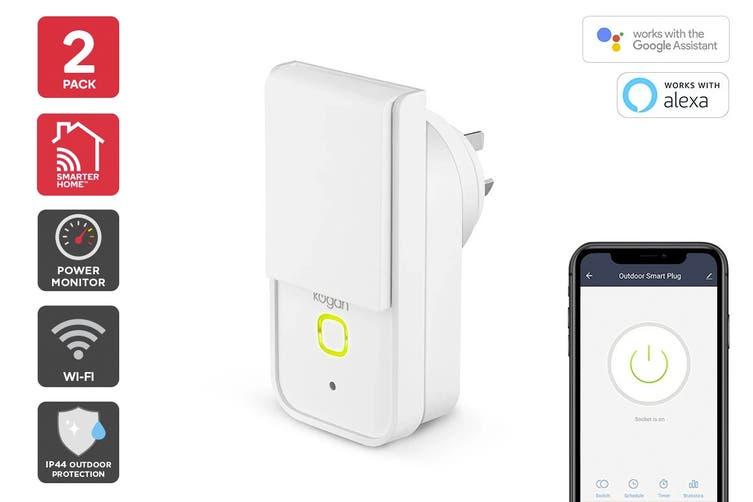Kogan SmarterHome™ IP44 Outdoor Smart Plug With Energy Meter (2 Pack)