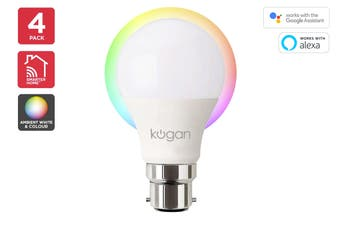 Kogan SmarterHome™ 10W Ambient RGBW Smart Bulb (B22) - 4 Pack