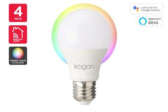 Kogan SmarterHome™ 10W Ambient RGBW Smart Bulb (E27) - 4 Pack