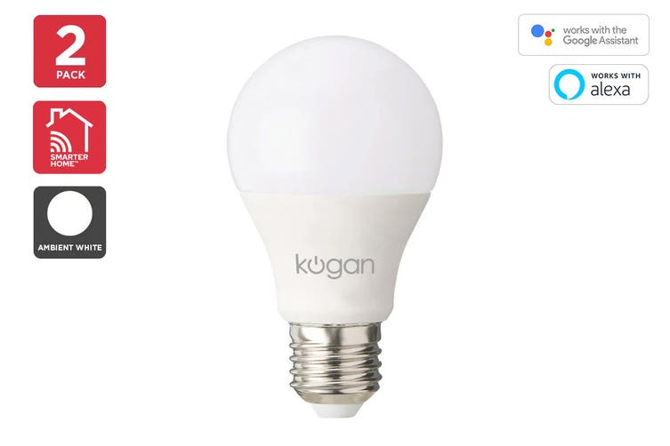 Kogan SmarterHome™ 10W Cool & Warm White Smart Bulb (E27) - 2 Pack