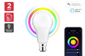 Kogan SmarterHome™10W RGB + CCT Colour & Warm/Cool White Smart Bulb (B22) - Pack of 2