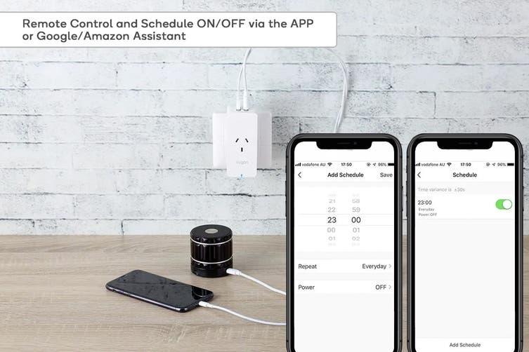 Kogan SmarterHome™ Smart Plug With Energy Meter & 5V 2.4A USB Ports (4 Pack)