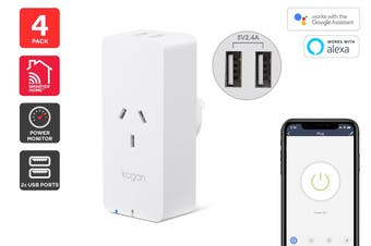 Kogan SmarterHome™ Smart Plug With Energy Meter & 5V 2.4A USB Ports (4 Pack)