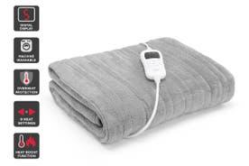 Trafalgar Washable Plush Electric Throw Blanket (Silver)