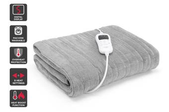 Trafalgar Washable Plush Electric Heated Throw Blanket (Silver)