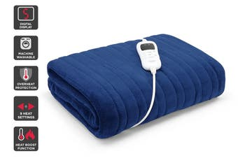 Trafalgar Washable Plush Electric Heated Throw Blanket (Navy)