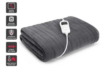 Trafalgar Washable Plush Electric Throw Blanket (Grey)