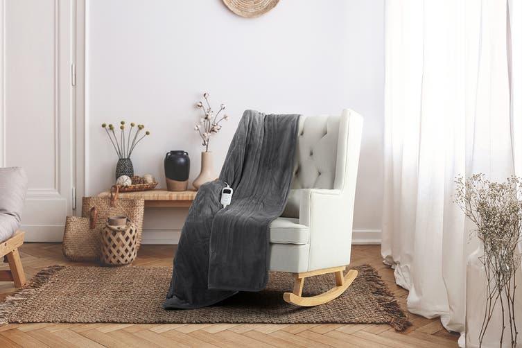 Trafalgar Washable Plush Electric Heated Throw Blanket (Grey)