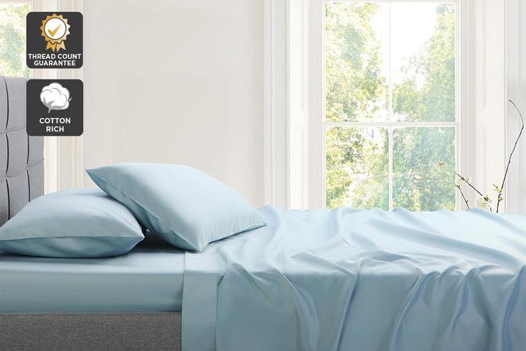 Trafalgar Hotel Quality 1200TC Cotton Rich Bed Sheet Set (Queen, Blue)