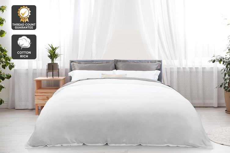 Trafalgar Hotel Quality 1200TC Cotton Rich Quilt Cover Set (Queen, White)