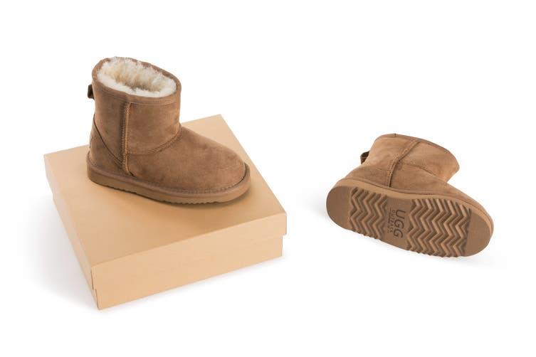 Outback Ugg Boots Kids Classic - Premium Double Face Sheepskin (Chestnut, Size US 1-2 / EU 32)