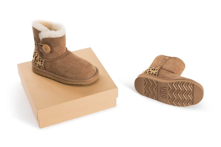Outback Ugg Boots Kids Button - Premium Double Face Sheepskin (Leopard, Size US 6-7 / EU 24)
