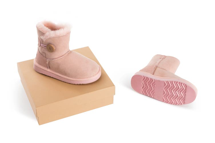 Outback Ugg Boots Kids Button - Premium Double Face Sheepskin (Pink, Size US 1-2 / EU 32)