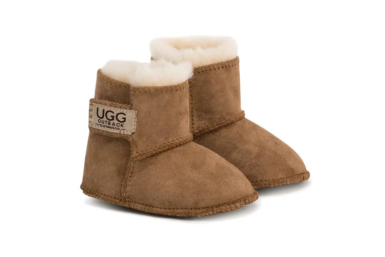 Outback Ugg Boots Baby Classic - Premium Double Face Sheepskin (Chestnut, Size M)