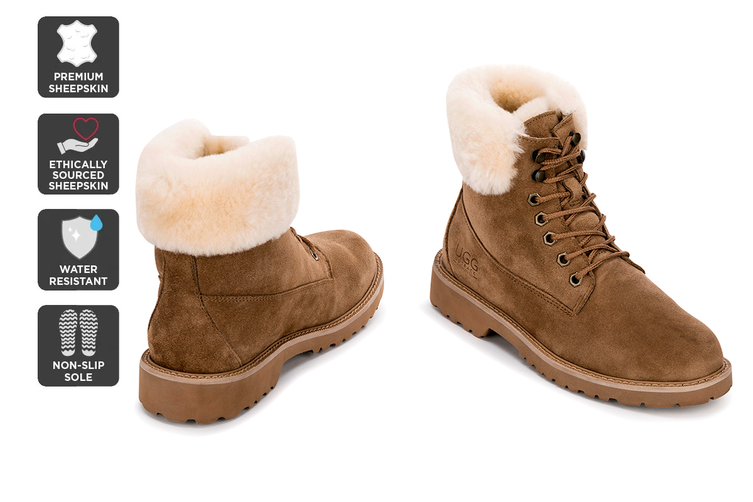 Outback Ugg Outdoor Classic Boot - Premium Sheepskin (Chestnut, Size 10M / 11W US)