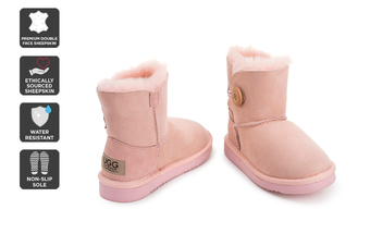 Outback Ugg Kids Button - Premium Double Face Sheepskin (Pink)