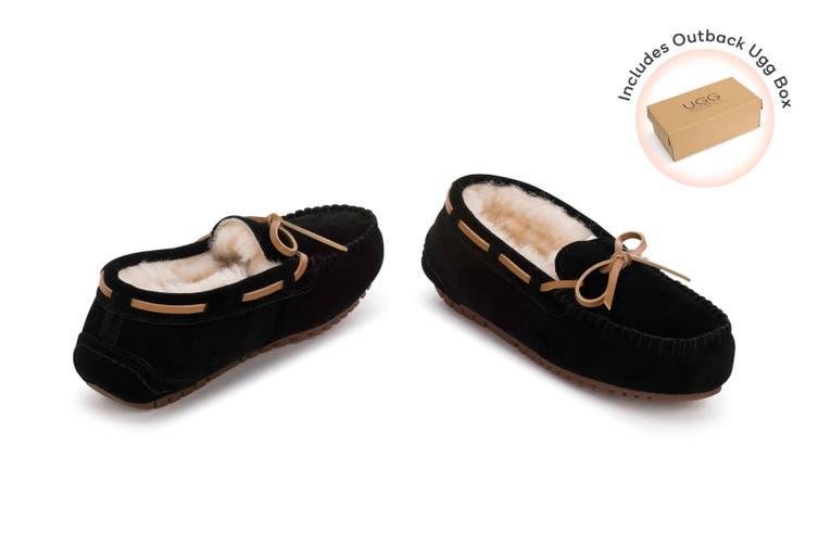 Outback Ugg Moccasins Tirari - Premium Sheepskin (Black, Size 12M / 13W US)