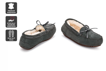 Outback Ugg Moccasins Tirari - Premium Sheepskin (Grey, Size 8M / 9W US)