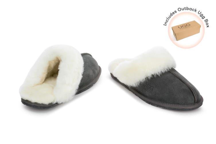 Outback Ugg Slippers - Premium Sheepskin (Grey, Size 4M / 5W US)