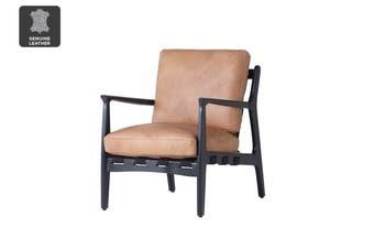 Matt Blatt United Strangers At Ease Armchair (Black, Texan Light Brown Leather)